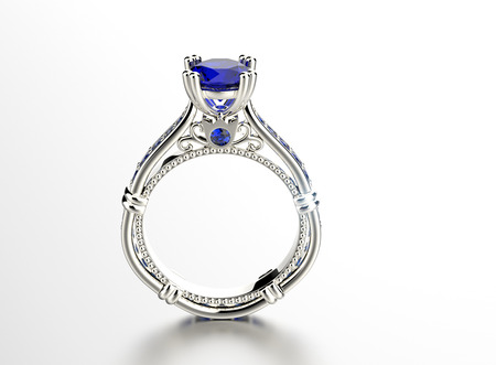 sapphire: Golden Engagement Ring with sapphire