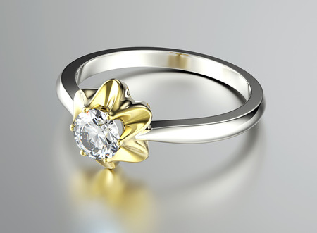 glistening: Golden Engagement Ring with Diamond. Jewelry background