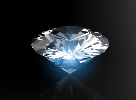 brilliant cut diamond perspective on black background Stok Fotoğraf