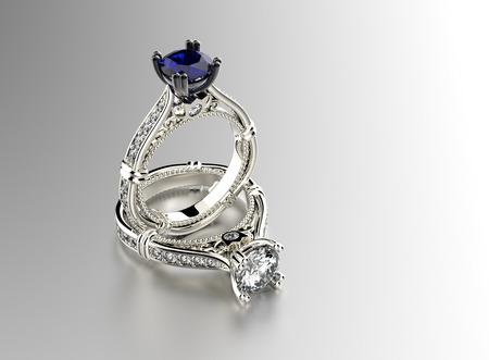 anillo de compromiso: Anillo con diamante. Fondo joyería Foto de archivo