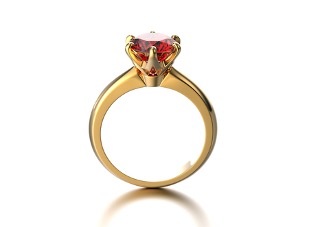 3D illustration gold ring with garnet gemstone. Jewelry background. Fashion accessory Stock Photo