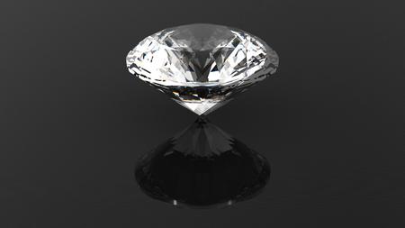 Round diamond. Gemstone. Jewelry background. 3D rendering