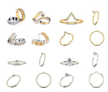 Illustrazione 3D anelli d'oro di diverse angolazioni con pietre preziose. Sfondo di gioielli. Accessorio di moda
