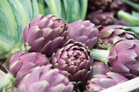 Freshly harvested red artichokes on display at the farmers market