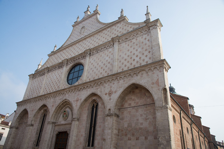 The front of the Saint Mary Cathedral at the Roman Catholic church in Vicenza in Veneto in northern Italy