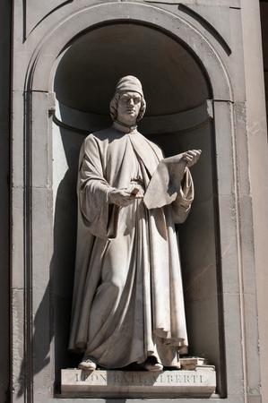 The statue of Leon Battista Alberti in the Uffizi gallery in Florence in Italy Editorial