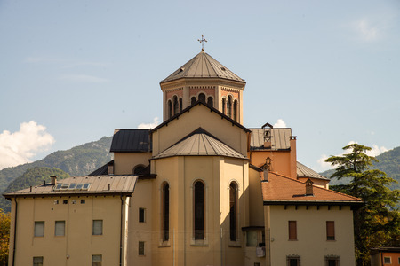 Rear view of the Santissimo Sacramento church, Trento, Italy. The church is surmounted by a dome of 29 meters in an octagonal shape.