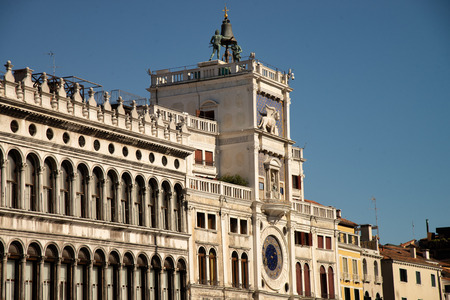 The Moors of the Clock Tower of Venice, Italy. The clock marks days, hours, moon phases and zodiac. On the top two statues (the Moors) indicated the hour by striking a bell. Below, there are statues o