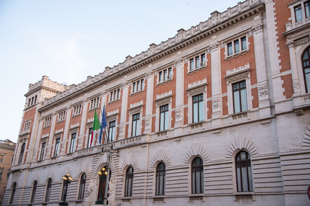 Rear facade of Palazzo Montecitorio, parliament building in Rome Italy. Seat of the Chamber of Deputies of the Italian Republic. Seventh-century building by Gian Lorenzo Bernini, completed in liberty style by the architect Ernesto Basile.