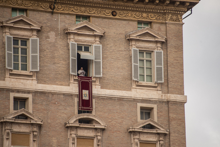 Vatican City, Rome, Italy in St. Peter's Square. The window is the so-called
