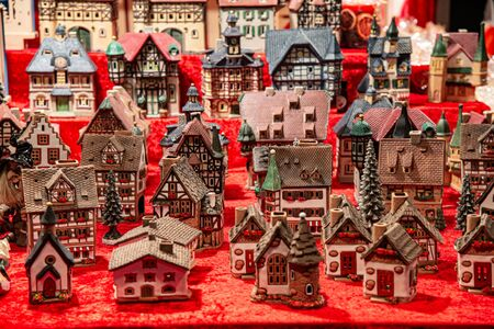 Objects with a Christmas theme, colorful houses. Holiday decorations. Stock fotó