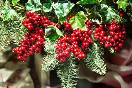 Sprig of red berries among plants and green leaves. Christmas decorations and for end of year celebrations.