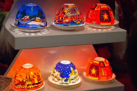 Beautiful bright colored decorations with Christmas designs. Festive decorations and celebrations of the end of the year.
