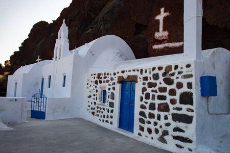 Church of the Akrotiri in Santorini Island of Cyclades in Santorini. Church of Agios Nikolaos Mavrorachidi. Stock fotó