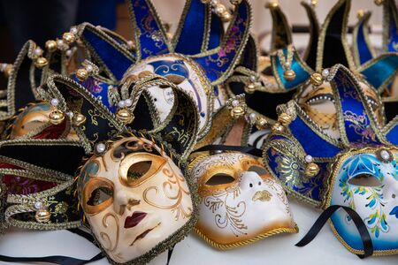 Typical carnival masks, Vintage. Halloween mask decoration Mardi Gras. Colored, isolated on the sales counter. Stock fotó