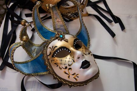 Typical carnival masks, Vintage. Halloween party . For masked parties, Cosplay, Valentine's Day. Stock fotó - 132518254