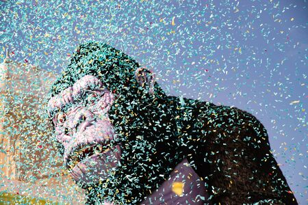 Country of Cento, Italy colorful floats parade through the streets. King kong among confetti theme, during the Carnival twinned with the Rio de Janeiro Stock fotó