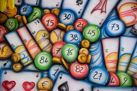 Series of numbers, playing cards and euro money. Colorful conceptual design of the game. Stock fotó - 133372259