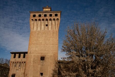 The fortress of Cento, Ferrara, Italy, is a defensive medieval fortification. View of the massive keep. Stock fotó