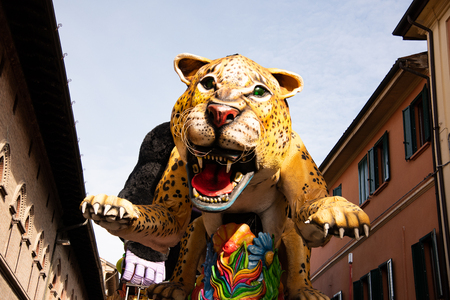 Country of Cento, Italy colorful floats parade through the streets. Theme