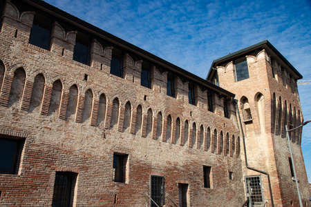 The fortress of Cento, Ferrara, Italy, is a defensive medieval fortification. Detail of the walls and the castle tower.