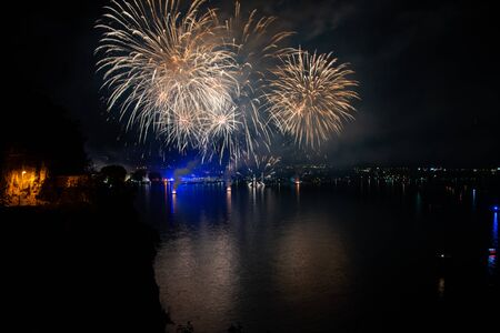 Fireworks in Riva del Garda, Italy. Annual event on the lake called Night of fairy tales.