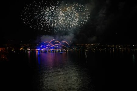 Fireworks in Riva del Garda, Italy. Annual event on the lake called