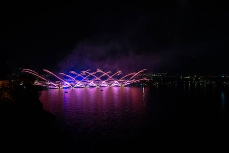 Fireworks in Riva del Garda, Italy. Annual event on the lake called Stock fotó - 133372265