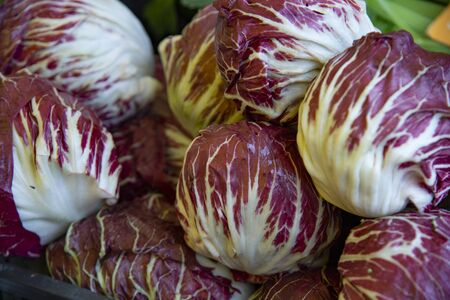 Group of Veronese red radicchio ready to be sold at the market.