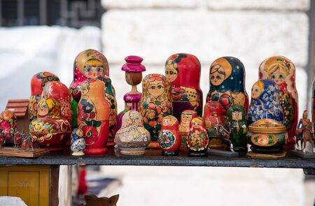 Russian traditional Matryoshka souvenir in hand-painted wood. Russian wooden doll that contains a set of dolls that is made up of pieces of different sizes.