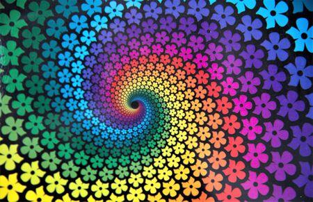 Multi colored spiral in spring tones.