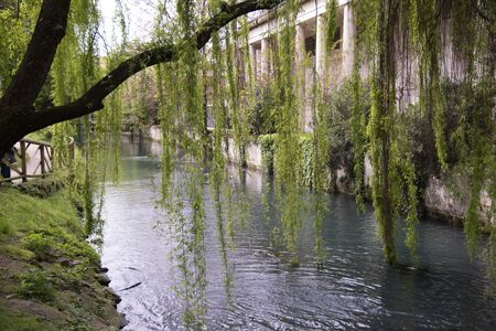 Seriola river in the public gardens Salvi, Vicenza, Italy from 1556. In the historic center of Vicenza.