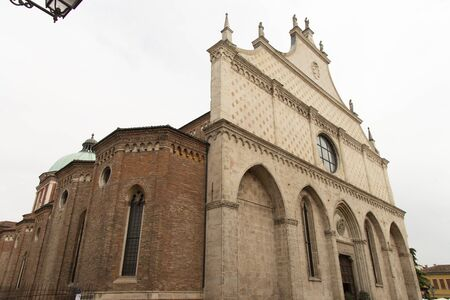 Church of Santa Maria Annunciata Cathedral in Vicenza, Italy. Ornate Italian Gothic facade completed in 1467. Stock fotó