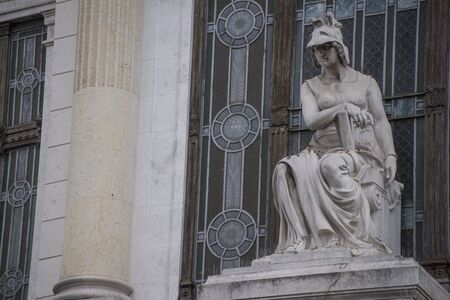 Statue of the goddess Minerva, protector of the workers. Art Nouveau construction from 1920 based on a Donghi design. Stok Fotoğraf