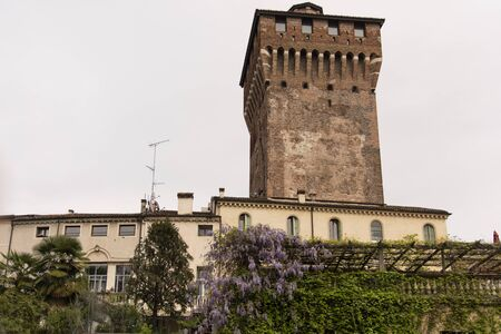 Torrione di Porta Castello, Vicenza, Veneto, Italy In the historic center of Vicenza. Photograph from the public gardens of Salvi.