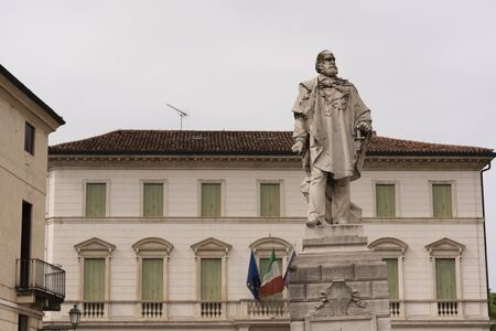 Piazza Castello and statue to Giuseppe Garibaldi in Vicenza, Italy. Bonin Longare palace, located in the background.