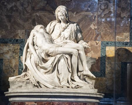 The Vatican Piet by Michelangelo, Rome, Italy. White Carrara marble.
