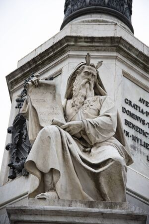 The statue of Moses on the column of the Immaculate Conception by Ignazio Jacometti in Piazza Mignanelli in Rome, Italy.