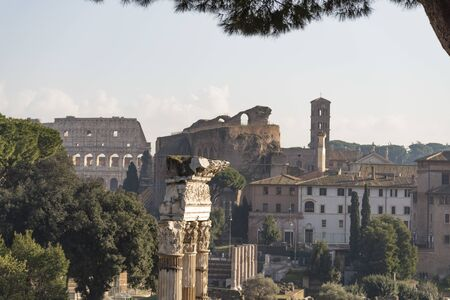 Panorama from the Vittoriano terrace, Rome, Italy. Top view of the Roman Forum with a view of the Colosseum and Basilica of Maxentius.