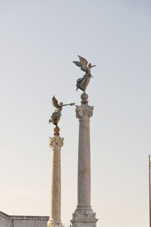 Winged victory with palm and bronze snake, altar of the Fatherland, Vittoriano, Rome, Italy.