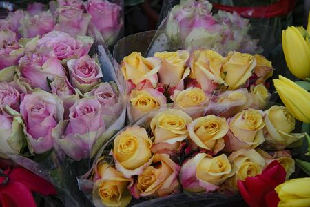 Bouquet of roses for sale in a street shop.Flower shop. Stock fotó