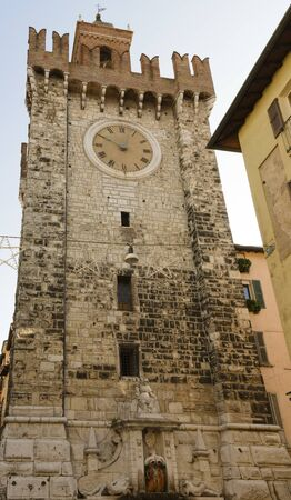 The Pallata tower, symbol of the city of Brescia, Italy. Medieval monument built in 1248.