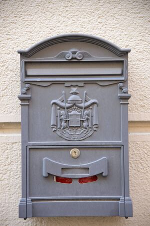 Old metal mailbox, Italian post offices, in Brescia, Italy.