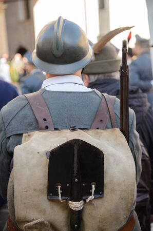 A soldier in the parade in vintage uniforms for November 4 Brescia, Italy. Stock fotó