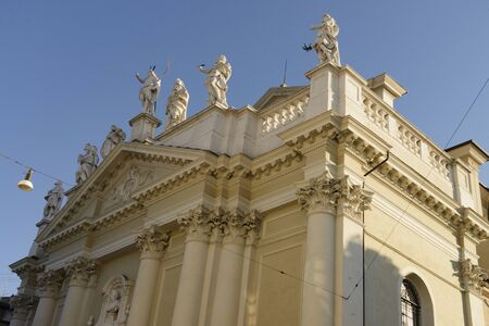 Detail of the facade of the church of Nazaro e Celso in Brescia, Italy, from the eighteenth century.