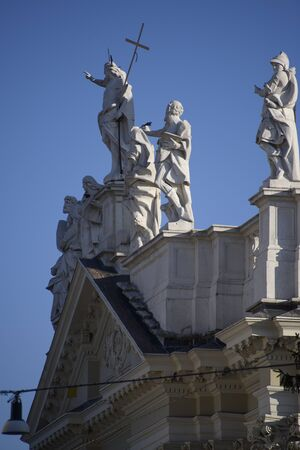 Detail with statues on the facade of the new cathedral, Brescia, Italy.