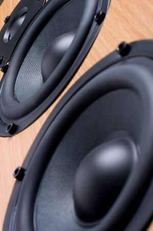 Wooden sound speaker system close up macro Stock Photo - 4133457