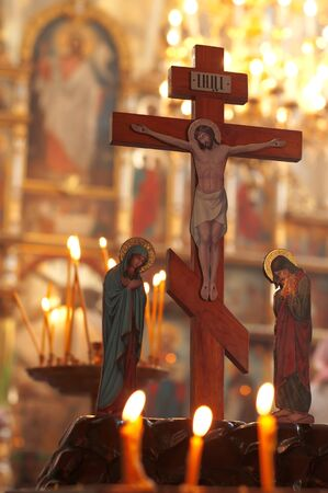 Church altar, humility before the crucifixion