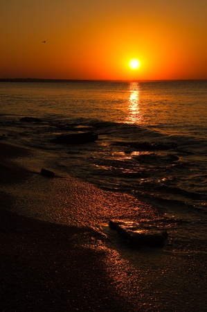 Surf the waves on a deserted beach with an orange-red sunset 스톡 콘텐츠