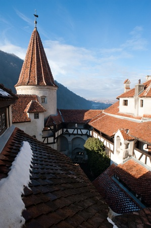 Top view of the courtyard of the castle of Vlad Tepes in Bran in Transylvania photo